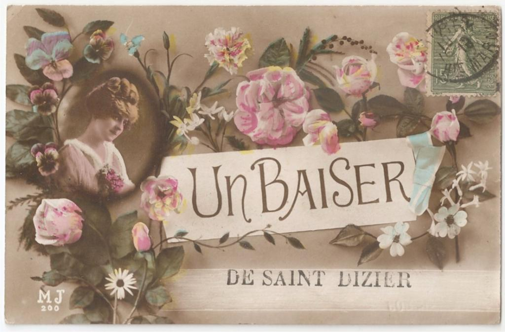 Старинная французская открытка поцелуй / un baiser
