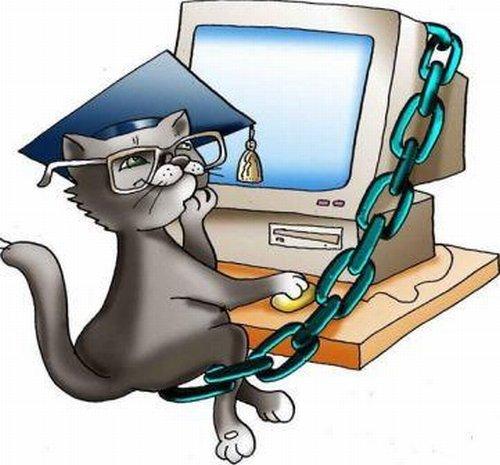 Открытка кот ученый