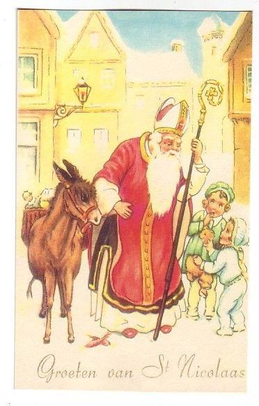 Старая открытка с днём Николая Чудотворца