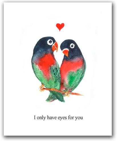 Открытка с влюблёнными птичками
