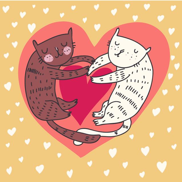 Открытка влюблённые коты