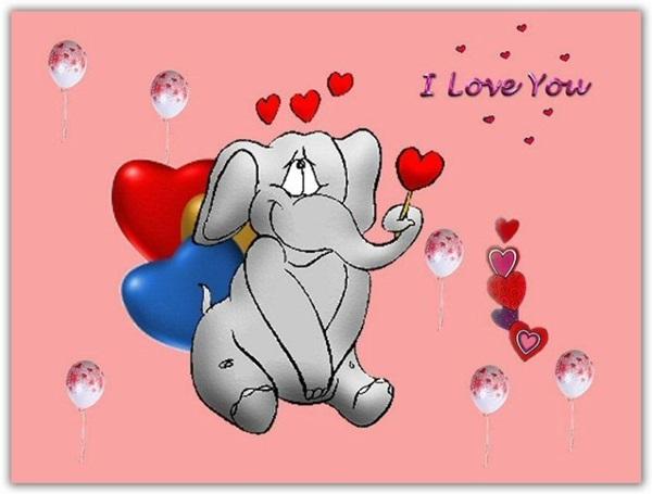 Открытка ко дню Святого Валентина со слонёнком