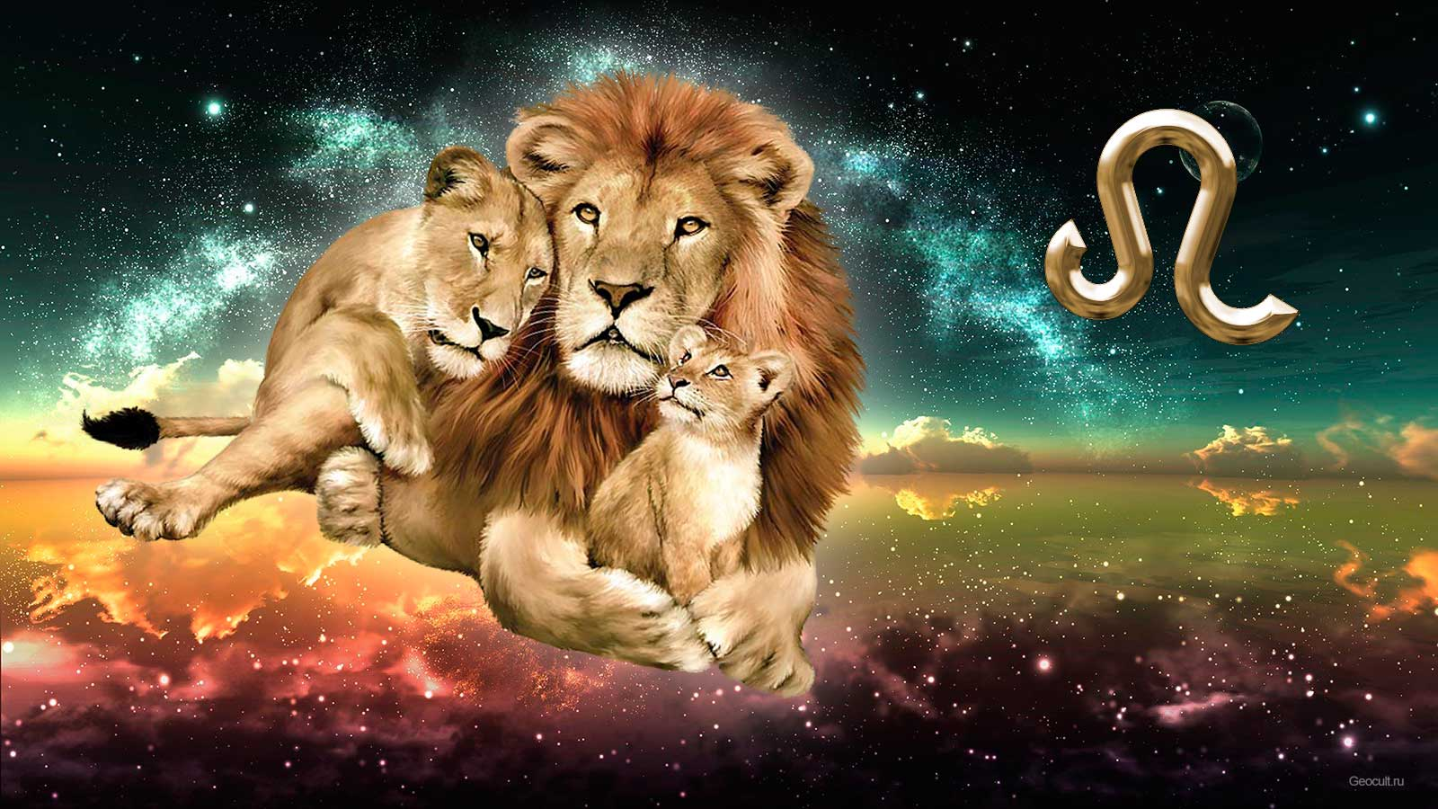 Открытка львиная семья
