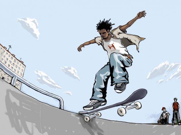 Открытка скейтборд
