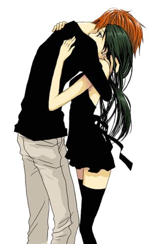 Открытка японская влюбленная пара