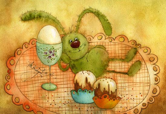 Открытка пасхальные яйца