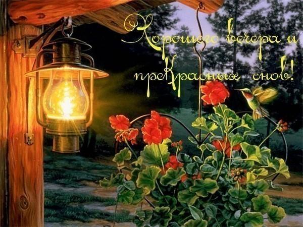 Открытка хорошего вечера и прекрасных снов!