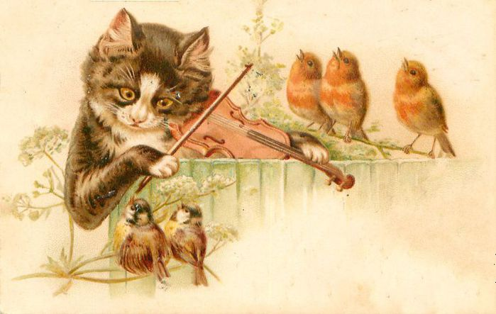 Открытка с животными и птицами