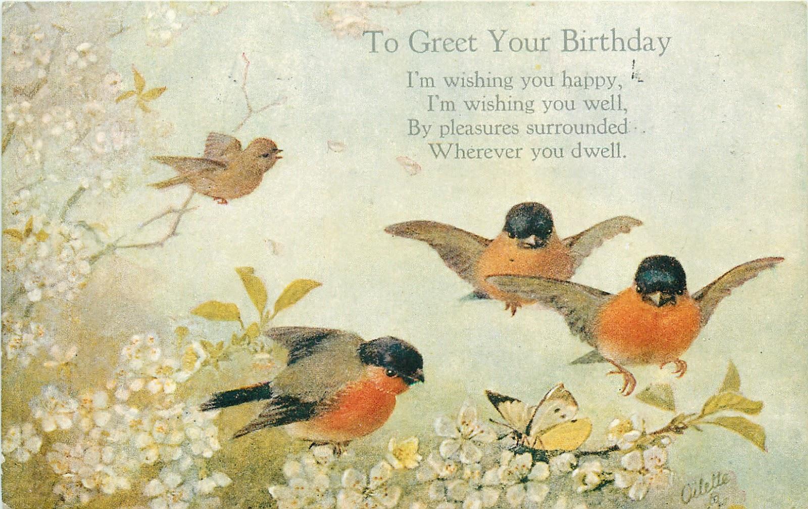 Открытка-поздравление с птицами