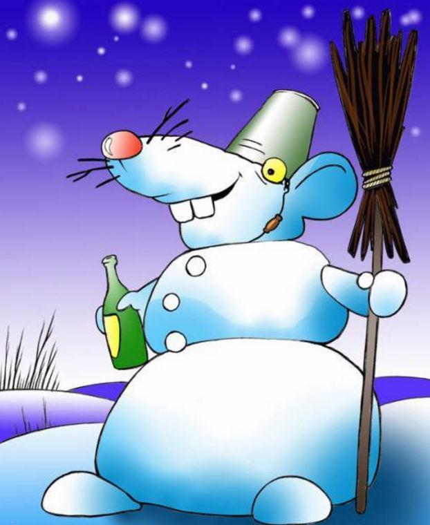 Мышонок-снеговик поздравляет с Новым Годом!