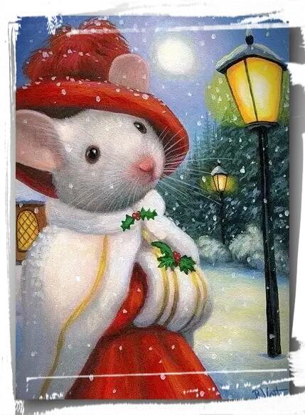Открытка с Годом Белой Мыши!