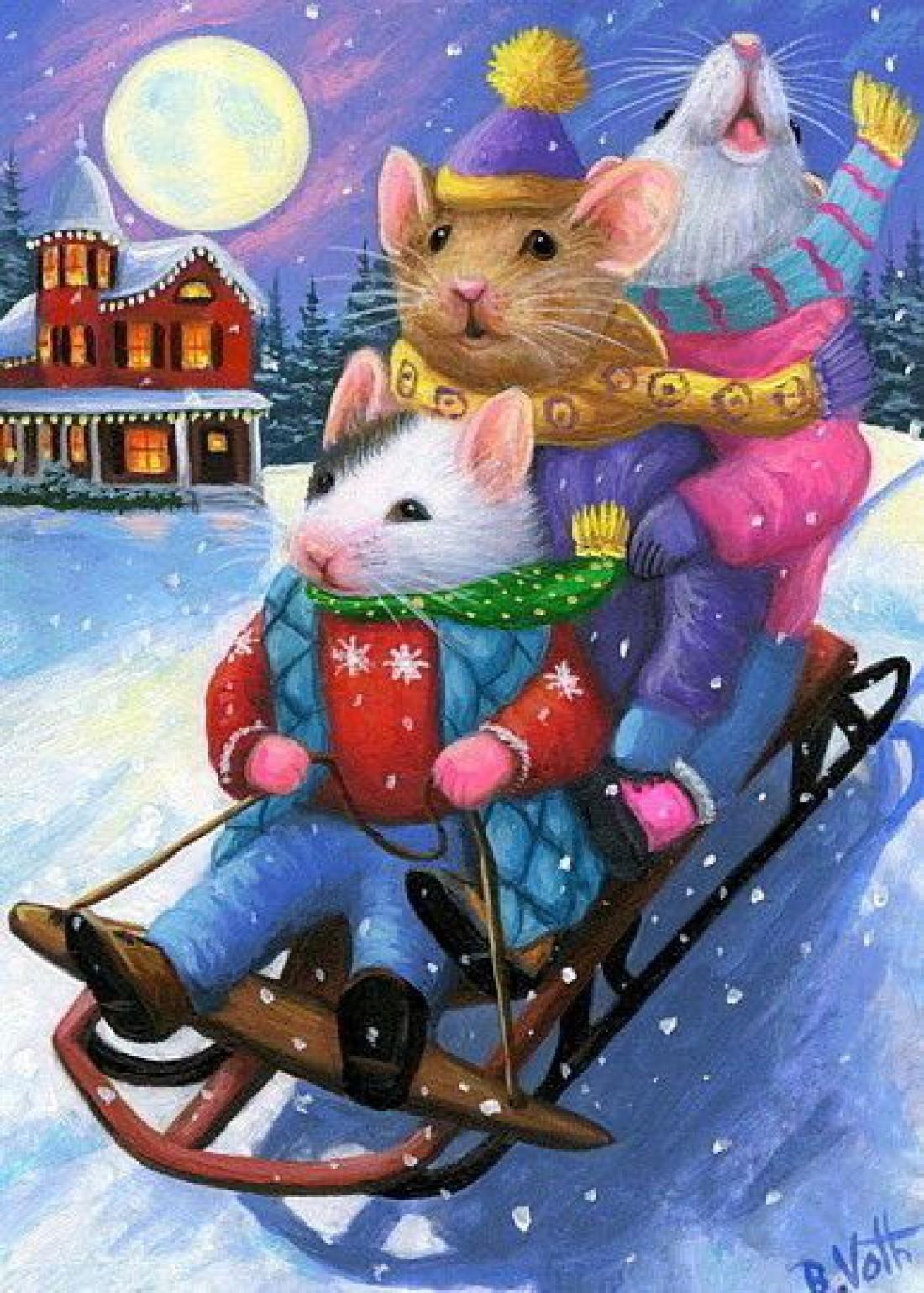 Новогодняя открытка с Годом Мышки