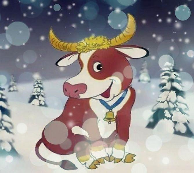 Новогодняя открытка на Год Быка