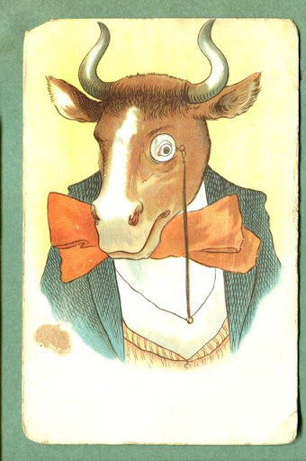 Старая открытка с Годом Быка