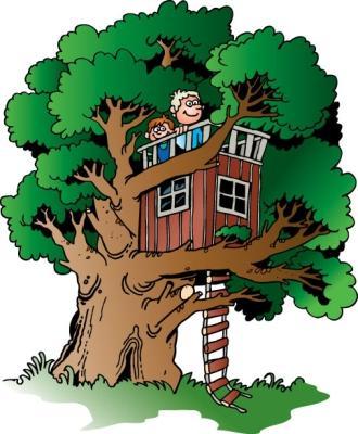 Открытка дом на дереве