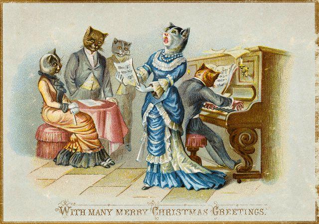Открытка кошачий концерт