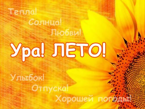 Летняя открытка ура, лето!